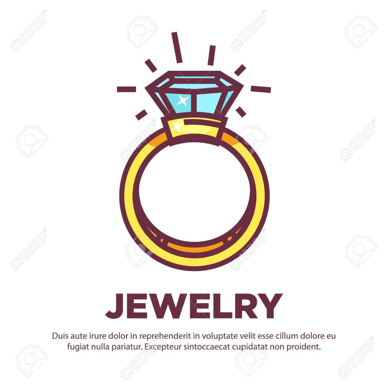 jewelry golden diamond wedding ring vector flat icon design royalty