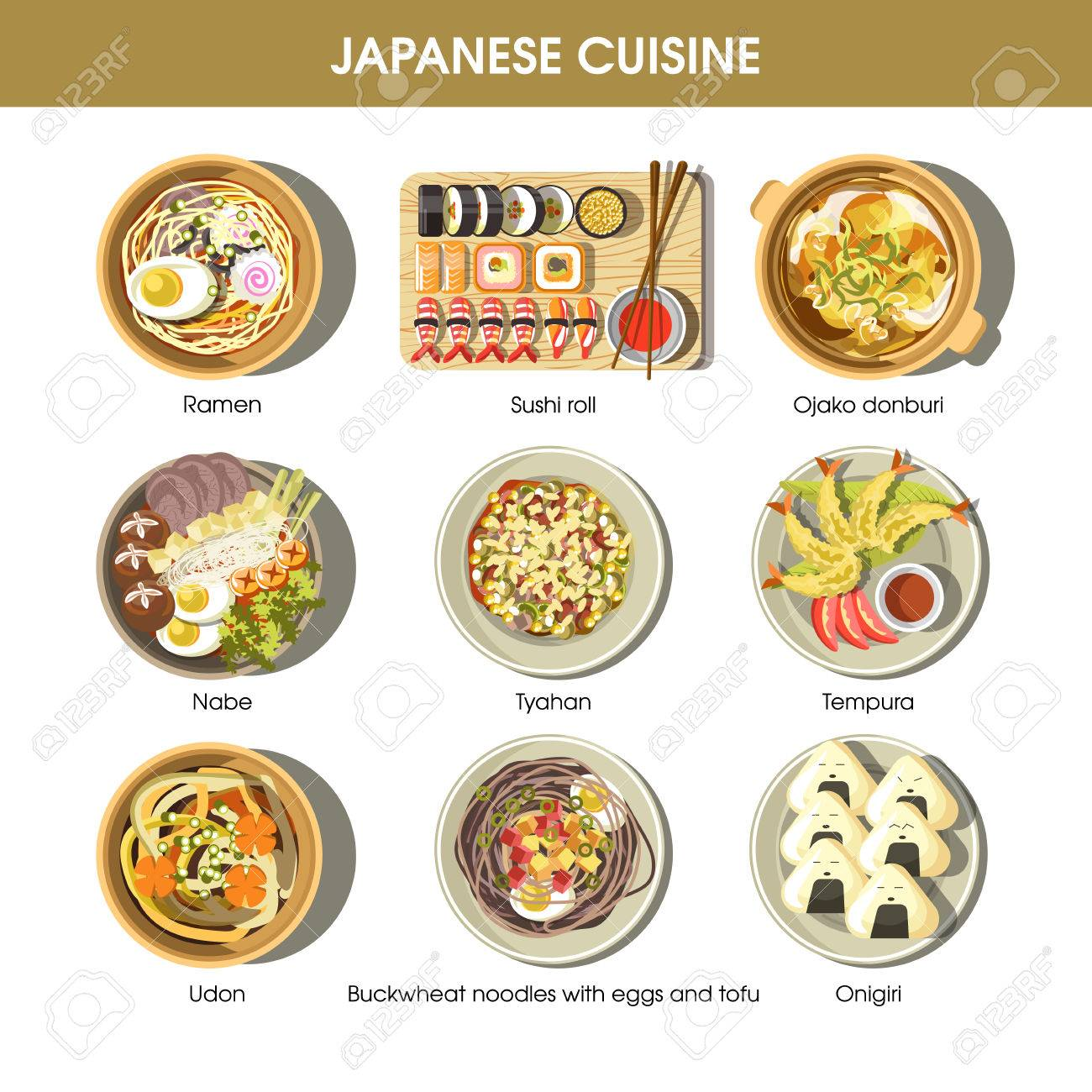 Japanese cuisine traditional dishes vector flat icons set - 73141997