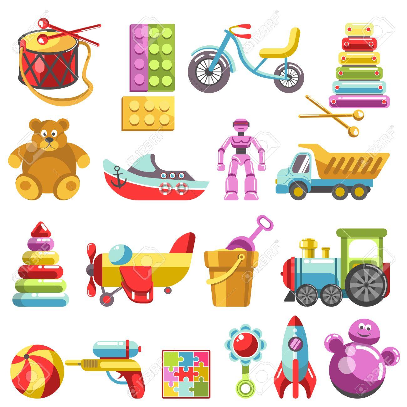Kid Toys Vector Icons Children Playthings Set For Kindergarten
