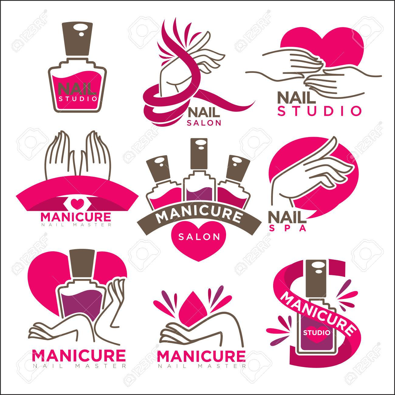 Manicure Salon And Nails Care Studio Vector Logo Templates Set
