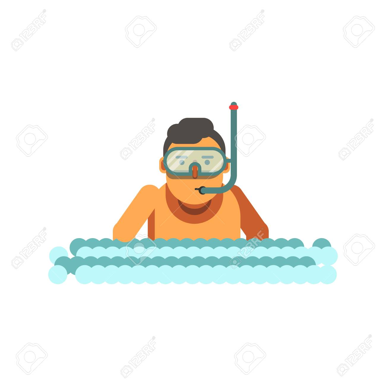 young boy with underwater mask and tube in river waves royalty free rh 123rf com Female Frog Clip Art Oak Tree Clip Art