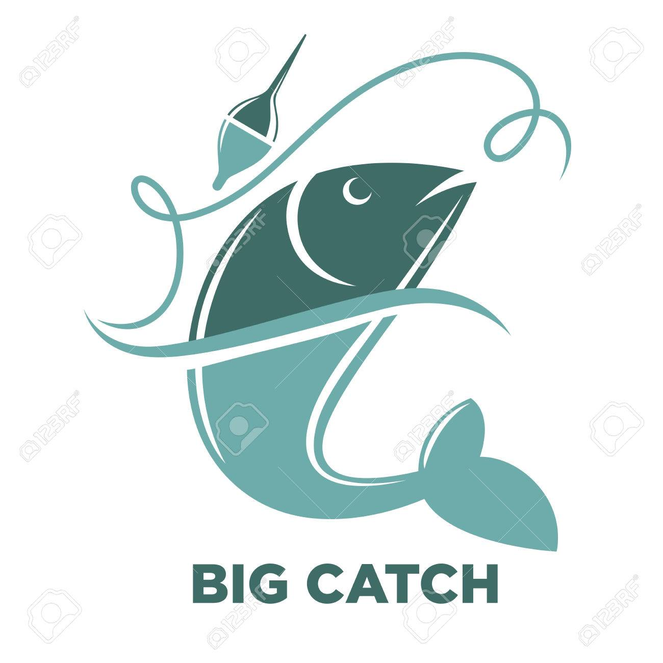 Fishing Big Fish Catch Vector Isolated Icon Template Royalty Free