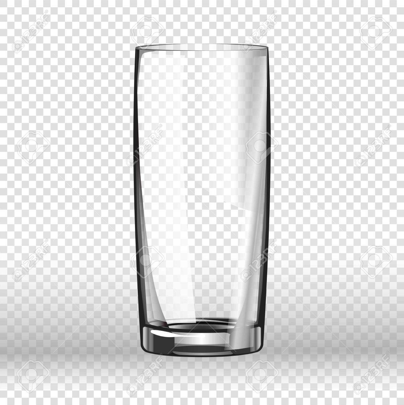84c3f3bc75d Realistic long drinking glass isolated on transparent background. Tableware  element in flat style