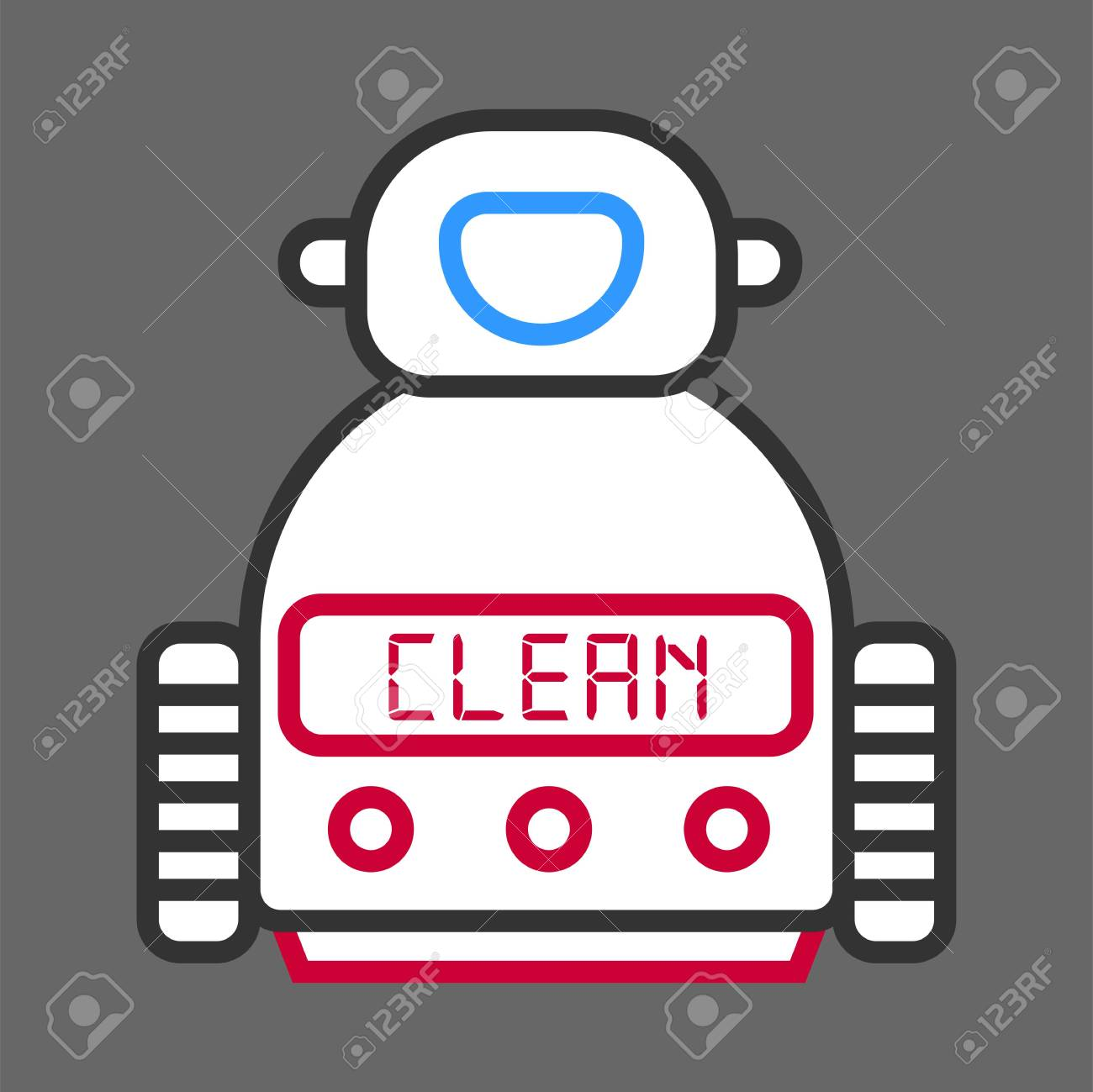 Robot Machine For Cleaning Isolated On Grey Background. Vector ...