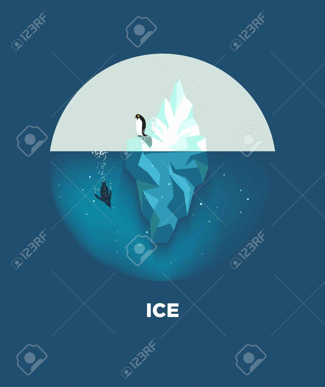 Iceberg con pingüinos ronda de logotipo sobre fondo azul Foto de archivo - 75738505