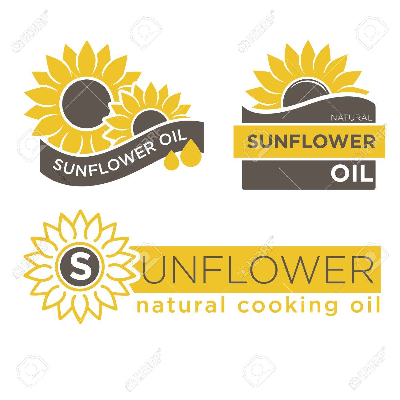 sunflower oil product logos templates natural cooking oil vector