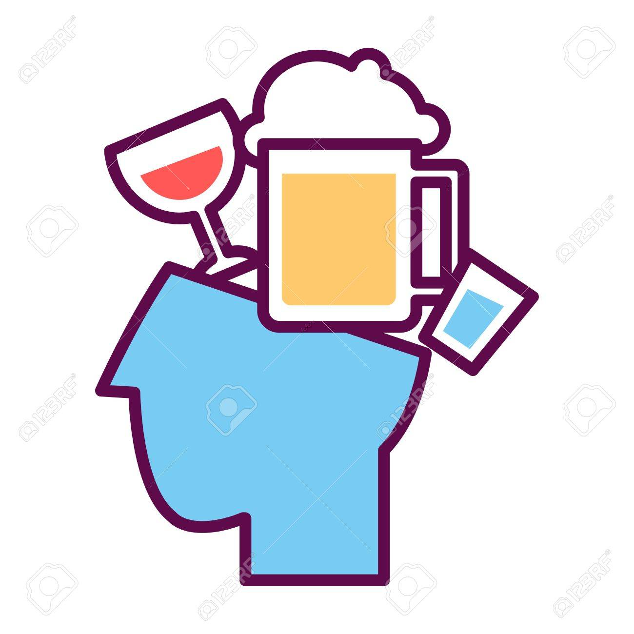 Psychology Abstract Conceptual Symbol Of Vector Human Head And ...