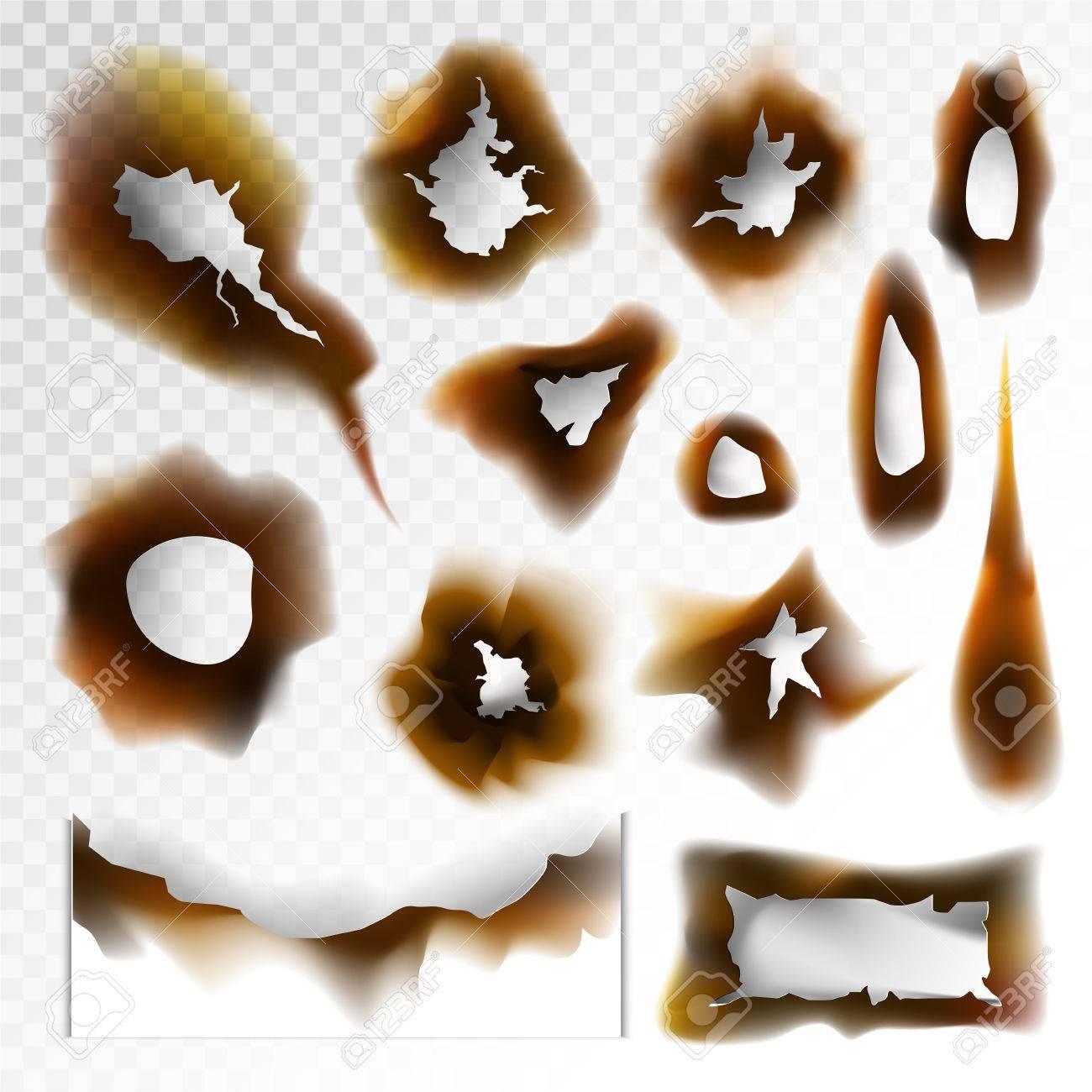 透明な背景に焦げた穴焦げた紙ベクター要素のイラスト素材ベクタ