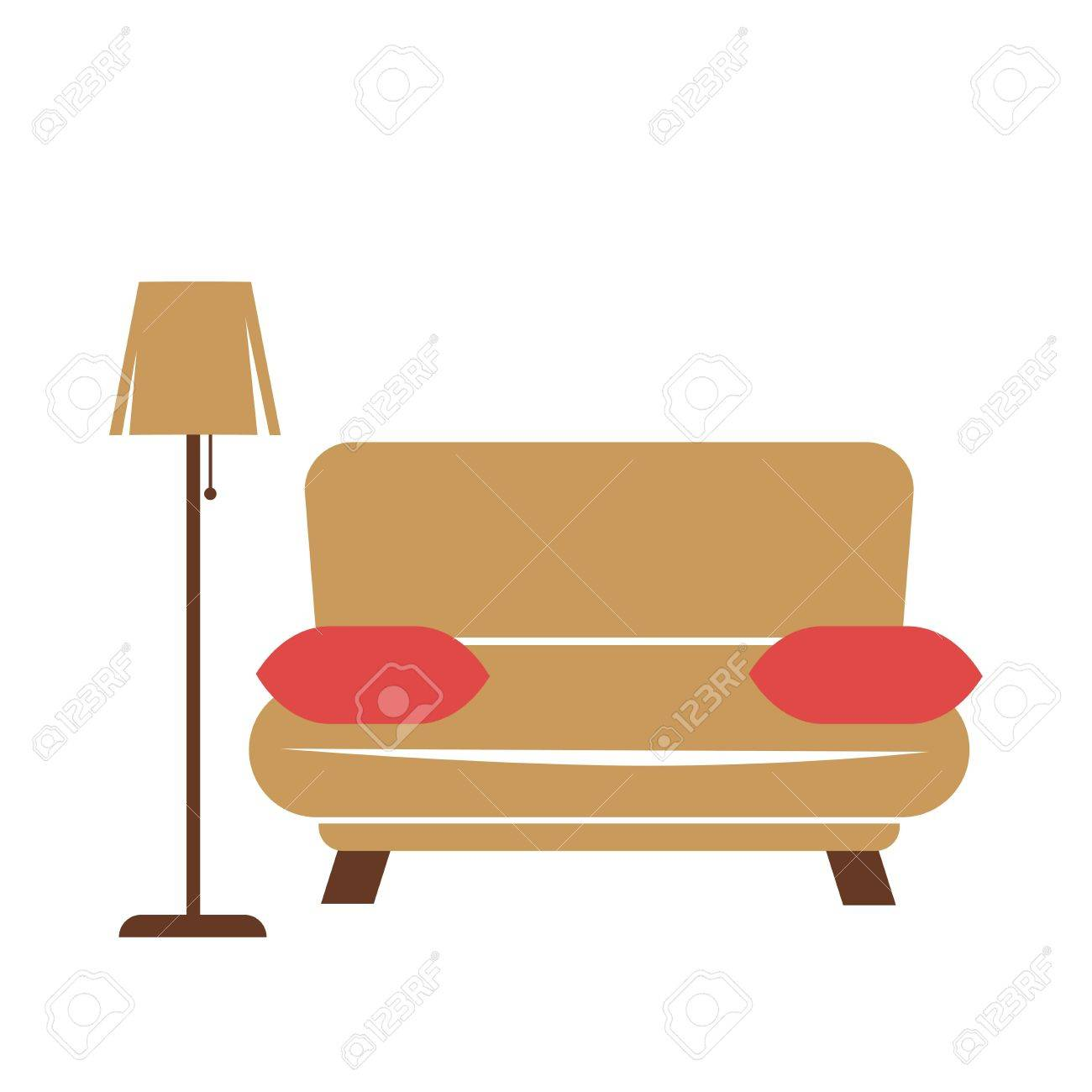 Wondrous Vector Illustration Of A Brown Couch With Standard Lamp And Red Andrewgaddart Wooden Chair Designs For Living Room Andrewgaddartcom