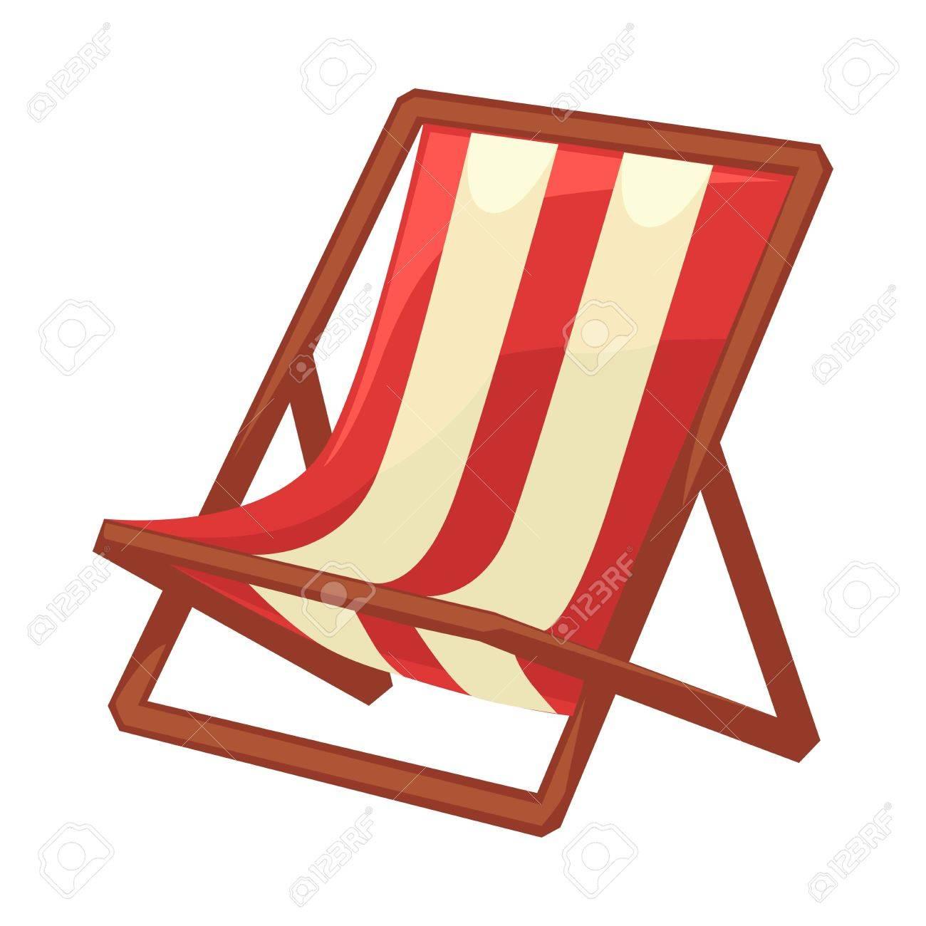 Chaise Longue Pliante Avec Tissu Raye Et Carcasses De Bois Sur Blanc