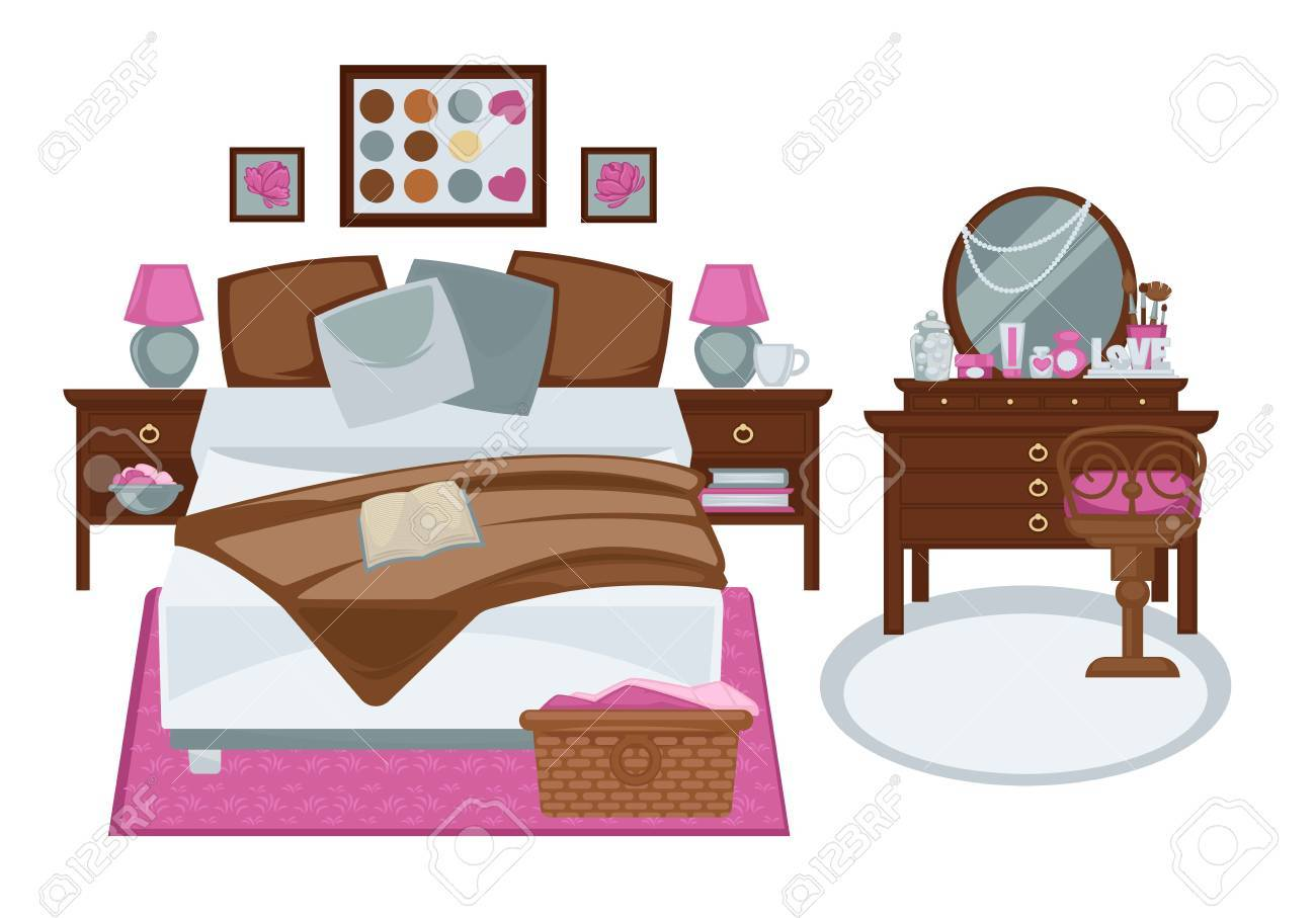 Glamour Interior Of Girls Bedroom In Pink And White Brown Tones