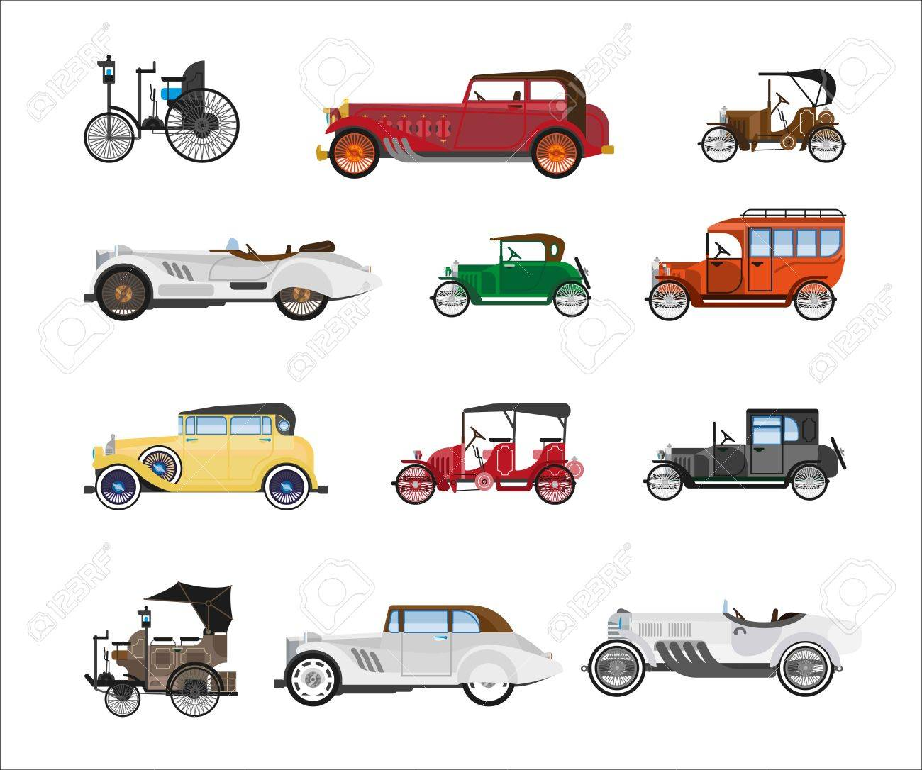 Antique Vehicle Colorful Vector Poster In Flat Design On White ...
