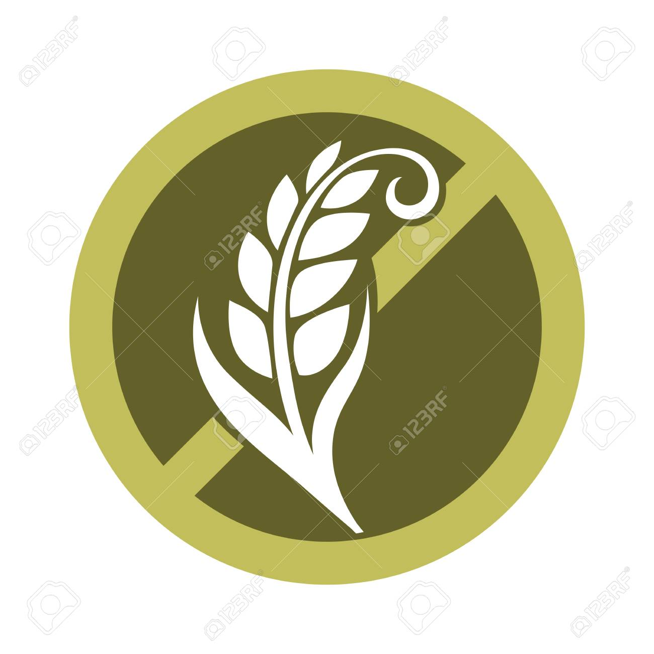 Gluten free substance in cereal grains logo design in prohibiting circle with crossed wheat vector illustration isolated on white. Product without ingredient responsible for elastic texture of dough - 77838909