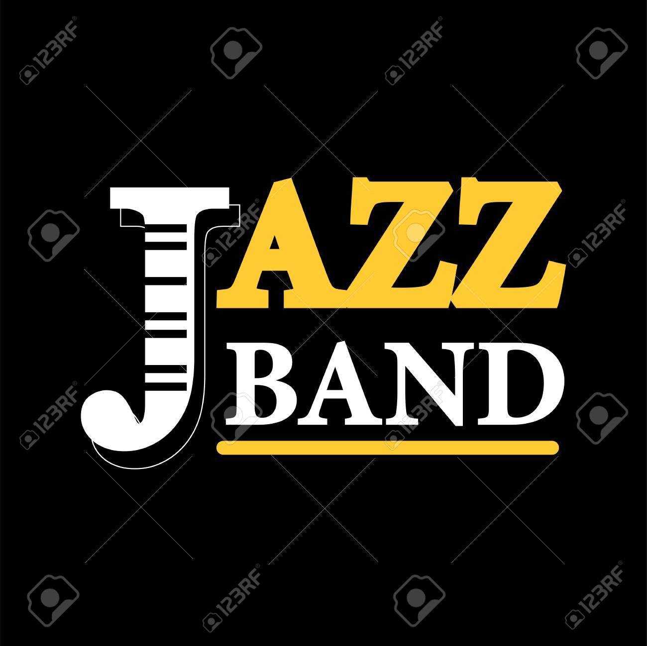 Etiqueta De Logotipo De Concierto De Banda De Jazz Aislado En Fondo ...
