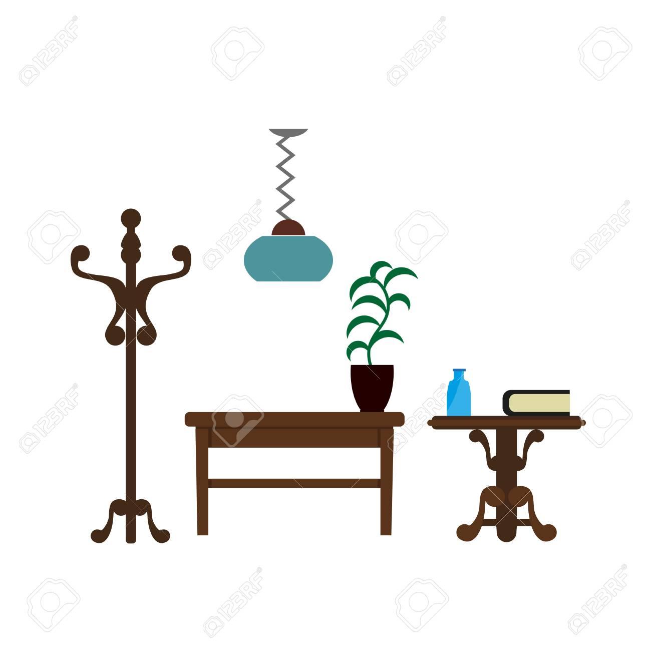 Mobel Mobel Wohnzimmer Lampe Kleiderbugel Und Tisch Vektor Flache