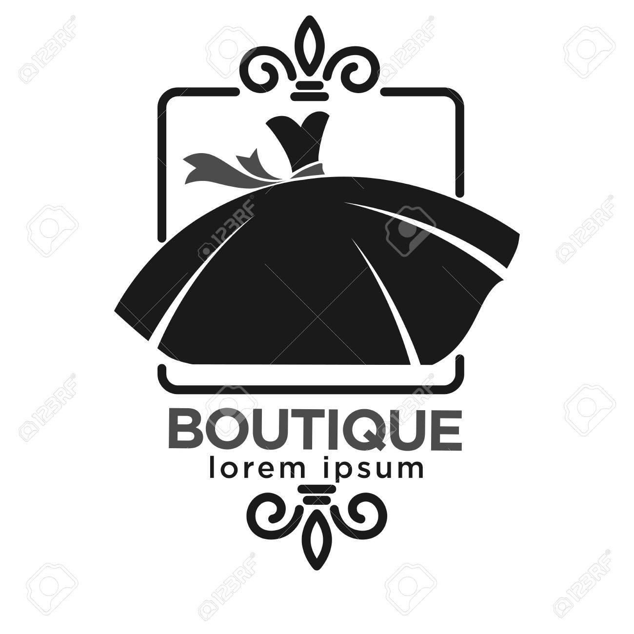 Boutique Black Logo Label With Dress In Frame Isolated On White ...