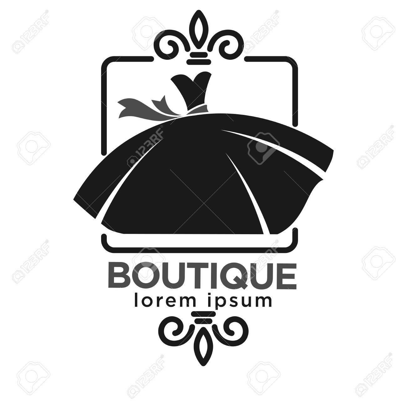 Etiqueta De Logotipo Negro Boutique Con El Vestido En El Marco ...