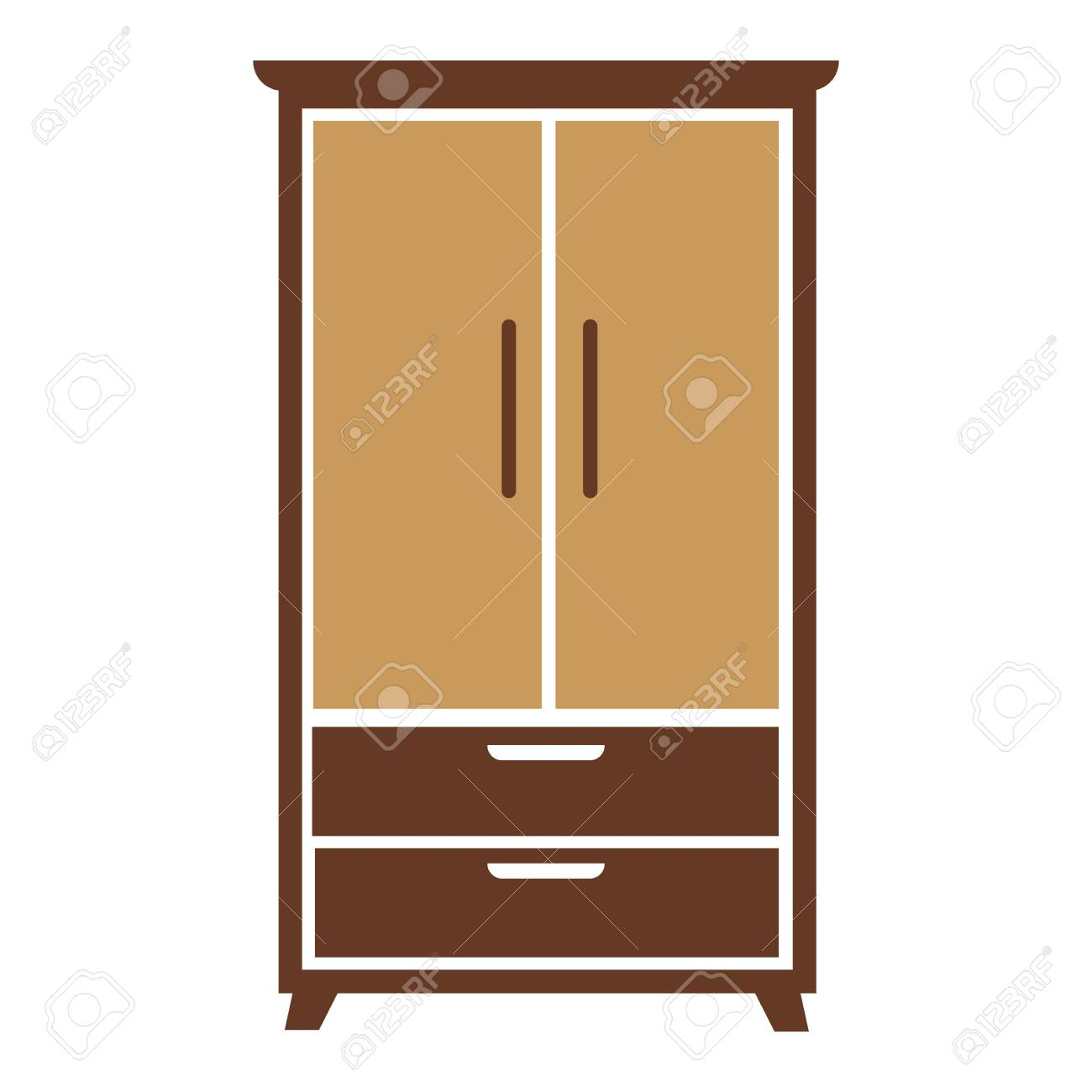 Brown Wooden Simple Cartoon Wardrobe With Beige Chest Of Drawers And Specious Cabinets Big Isolated On