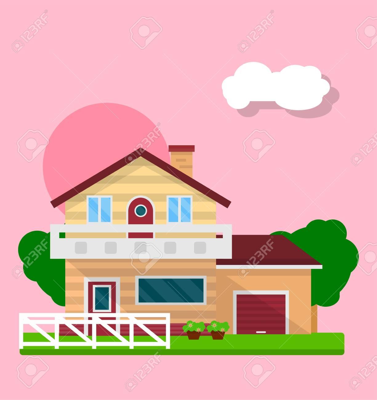 郊外のかわいい家とピンクに分離された庭のベクトル イラスト
