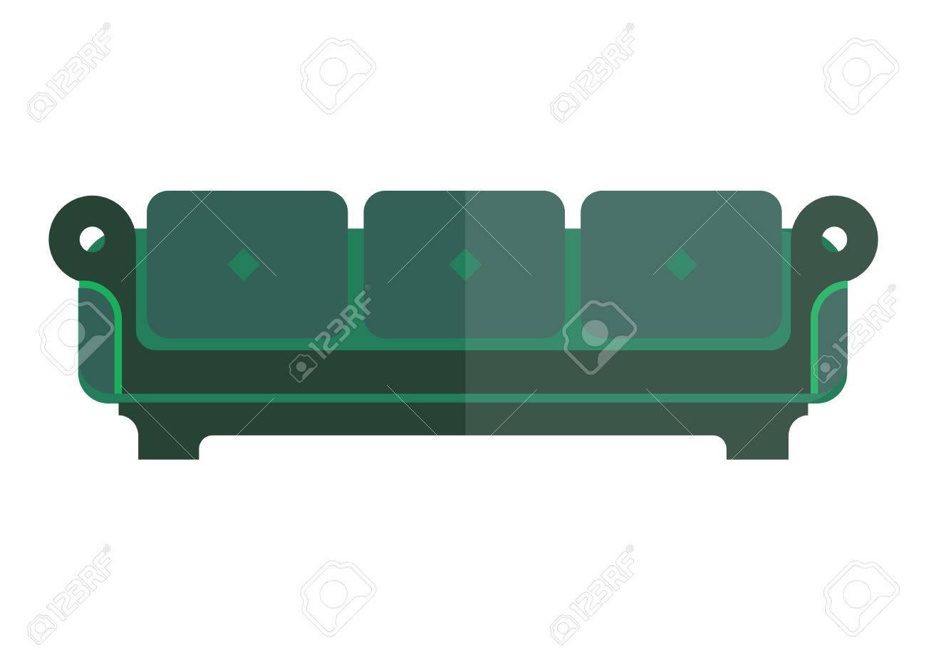 Canapé Isolé Vert Avec Des Pièces Lumineuses Et Sombres Sur Blanc