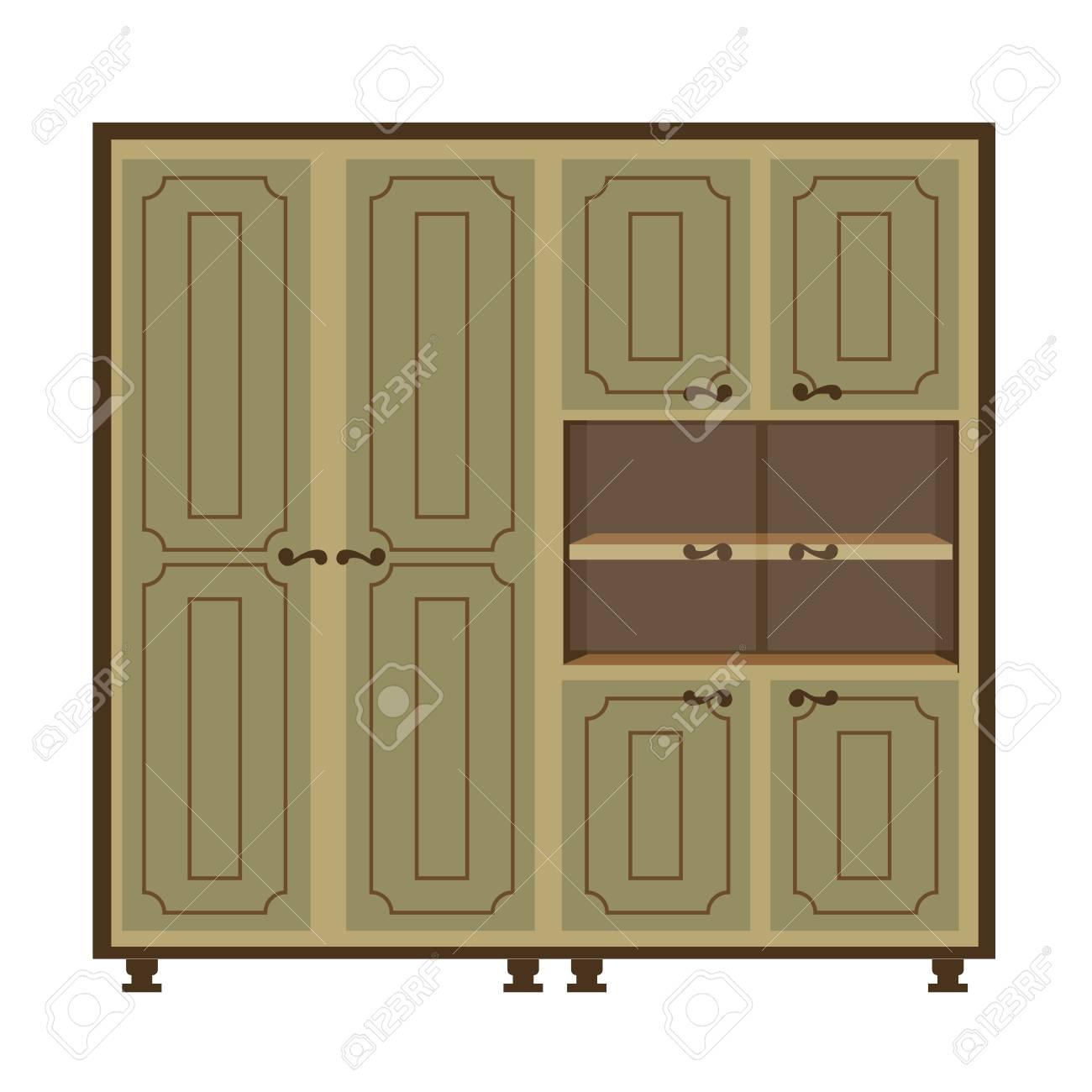 Armoire Ancienne Avec Portes Et étagères Isolées Sur Blanc Clip Art ...