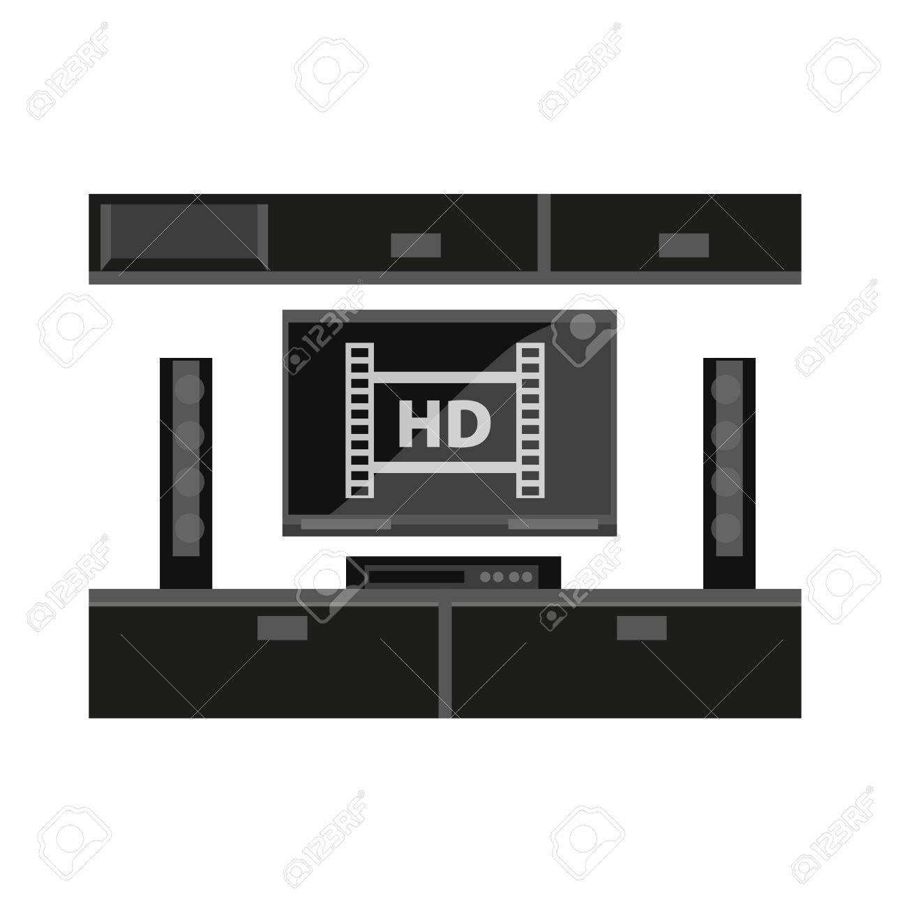Schön Schwarze Möbel Dekoration Von Möbel Für Tv-gerät Isoliert Auf Weiß Standard-bild