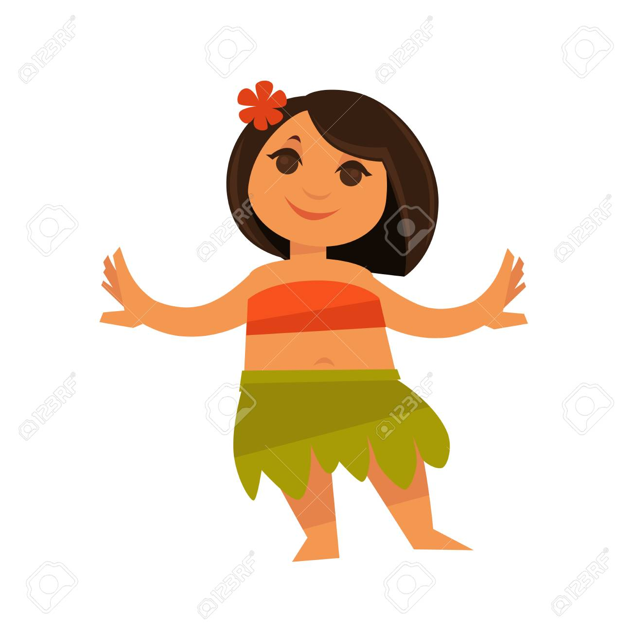 Small girl in hawaiian traditional clothes isolated on white small girl in hawaiian traditional clothes isolated on white vector colorful illustration in flat design izmirmasajfo Gallery