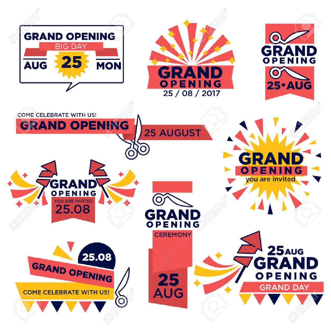 Grand opening event vector icons set for shop or festival - 79644281