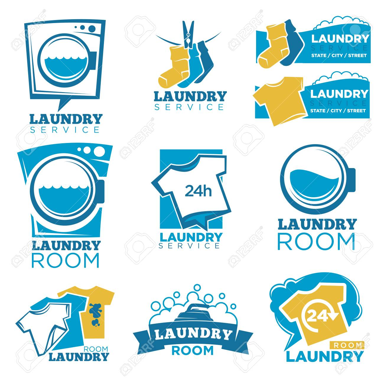 Laundry service room logo templates set vector isolated symbols laundry service room logo templates set vector isolated symbols of washing machine detergent or biocorpaavc Image collections