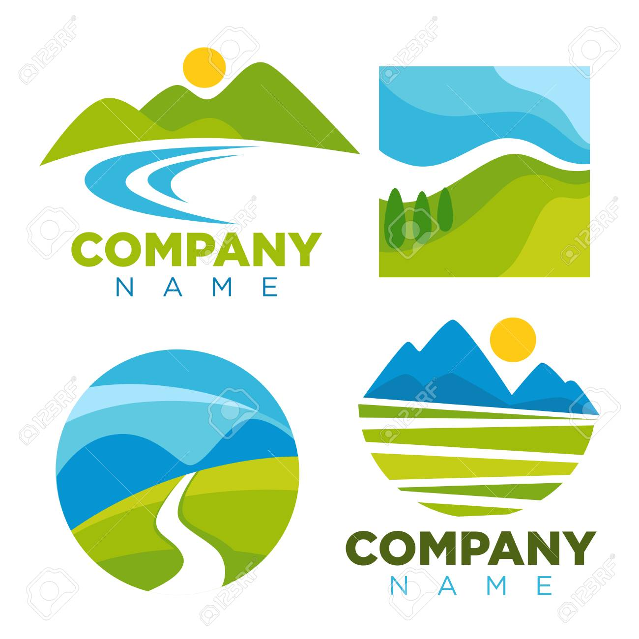 nature landscape logo templates for green ecology environment