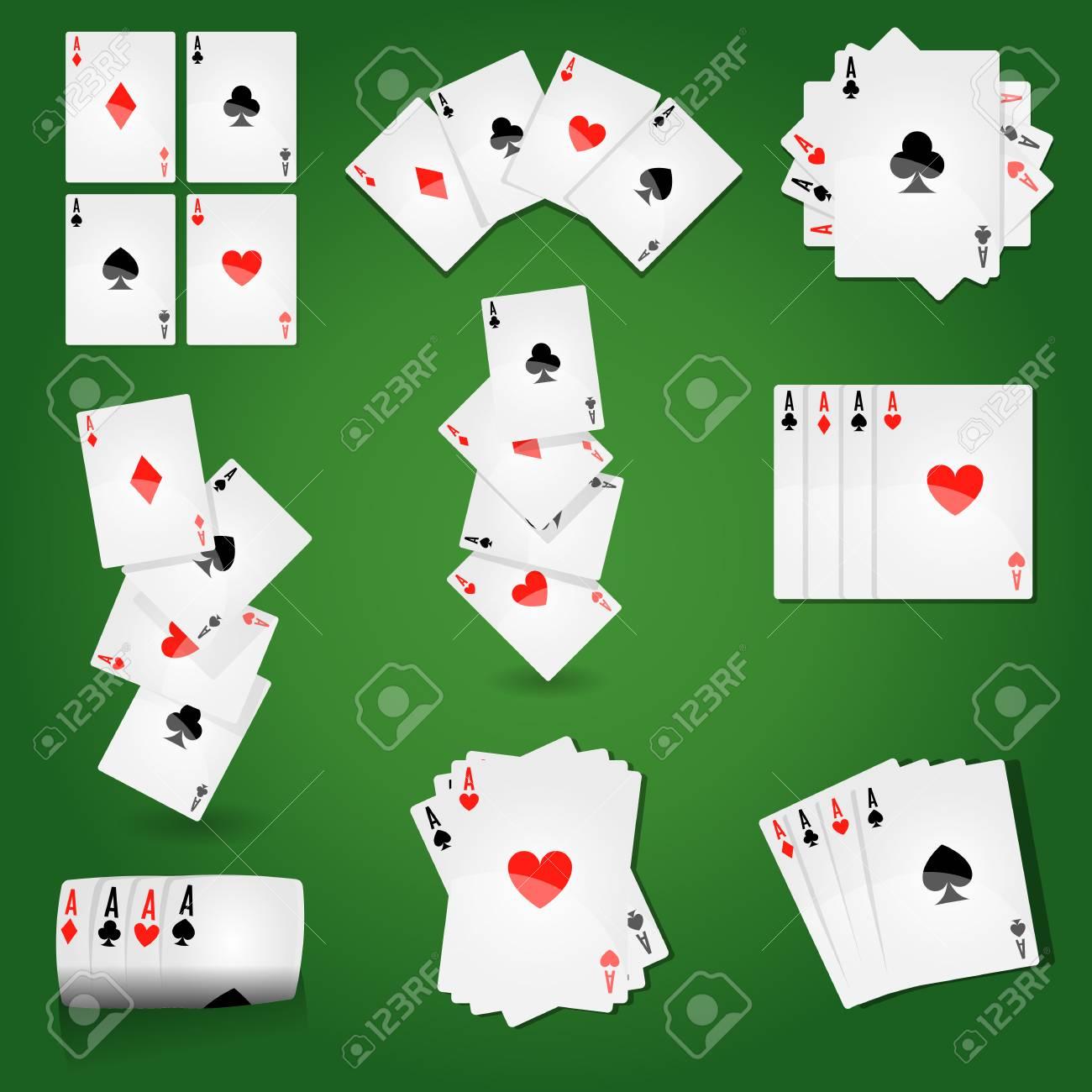 5970627033ea0 Carte da gioco per il poker da casinò o il solitario. Vector le icone del  mazzo di carte con i semi dei cuori dell asso