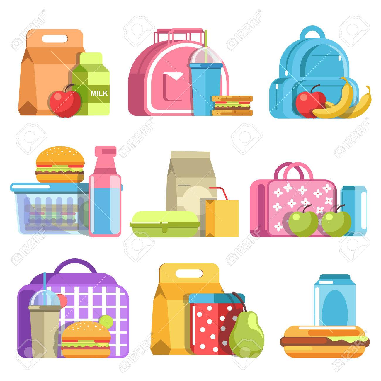 School lunch and meal boxes, containers and bottles, vector flat isolated icons - 79644451