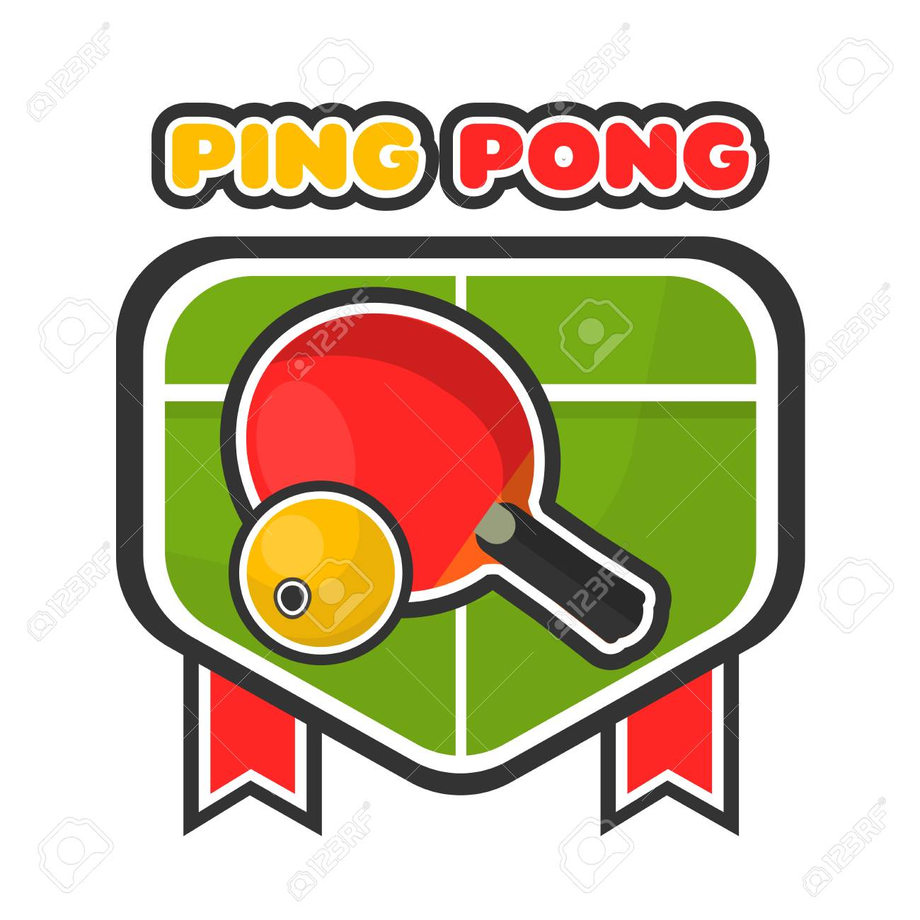 Ping Pong Game With American Lives >> Ping Pong Game Colorful Logotype With Table And Racket Royalty Free