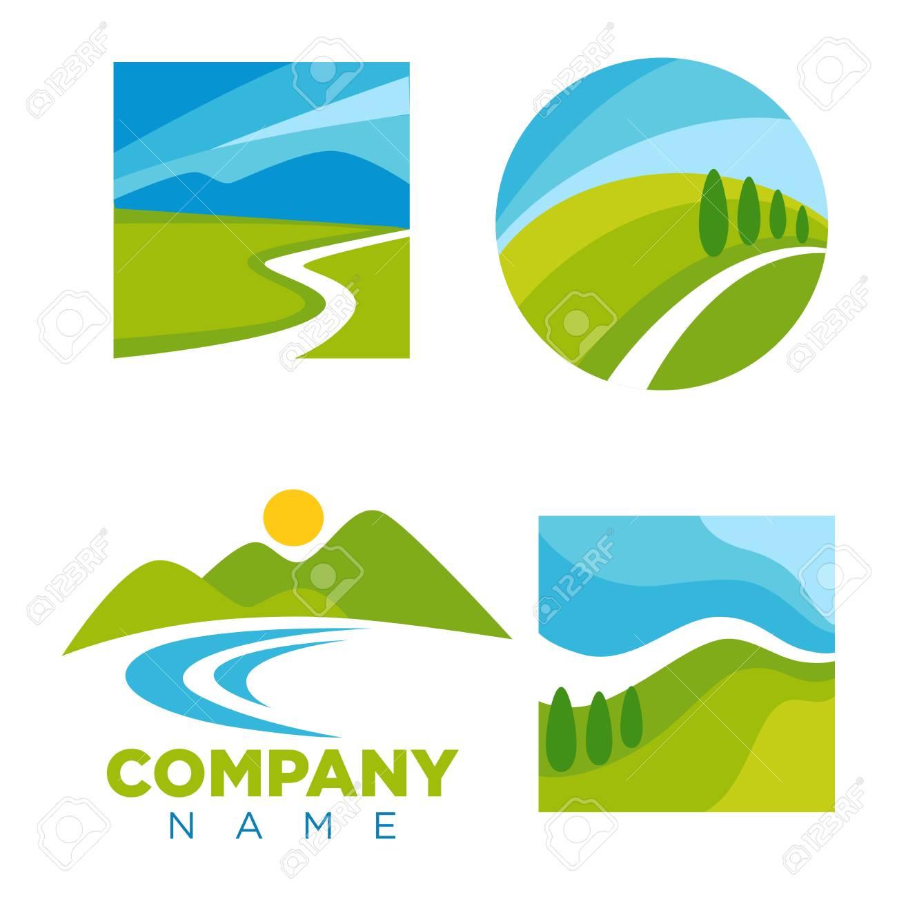 漫画の風景イラストの会社ロゴを設定 ロイヤリティフリークリップアート