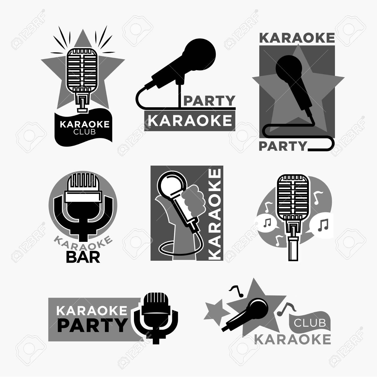 Karaoke Club Or Bar Party Logo Templates Set. Vector Labels Of ...