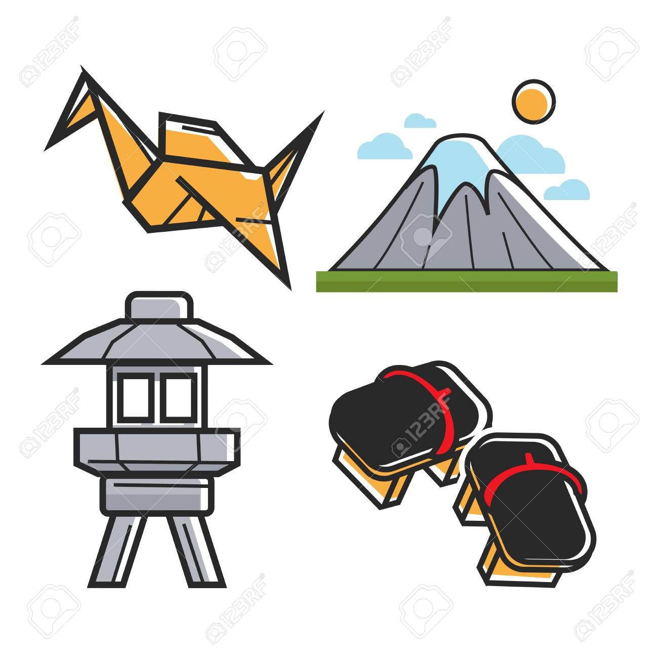 Japan Travel Symbols And Culture Or Famous Landmark Attractions