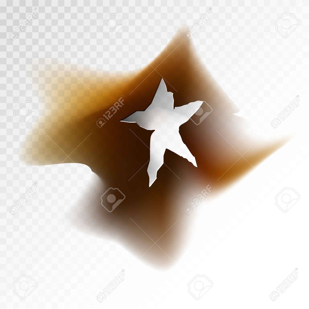 図の周りの汚れと星の形で焦げた穴のイラスト素材ベクタ Image