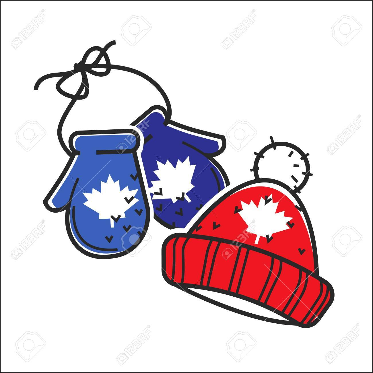 Canadian knitted wool hat and mittens vector isolated Canada traditional  winter holiday symbol Stock Vector - 68ced3589