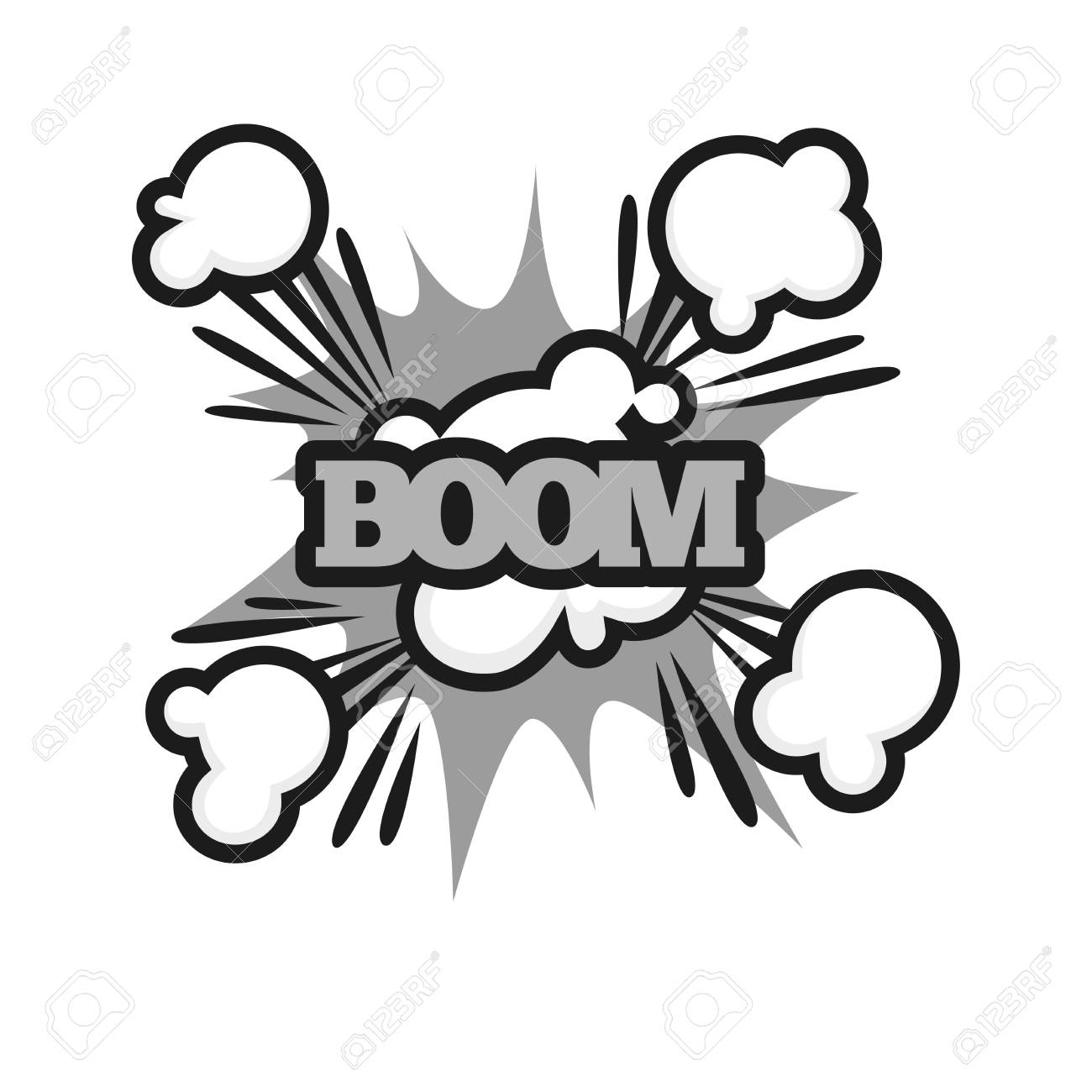 Boom lettering logo colorless vector poster in graphic design