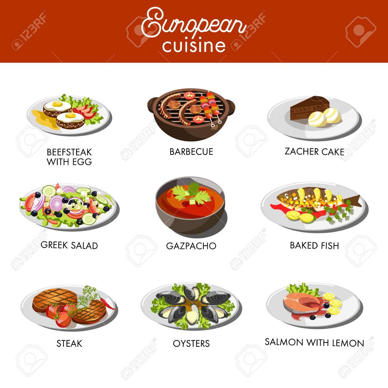 Europäische Küche Essen Gerichte Für Restaurant Vektor-Menü-Vorlage ...