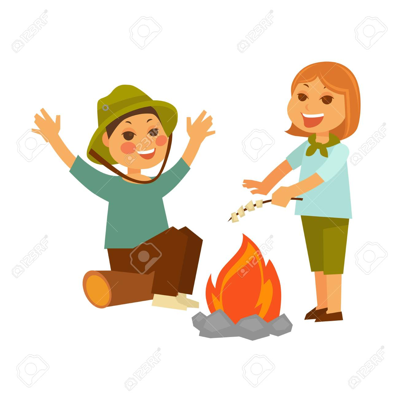 Children At Picnic In Forest With Campfire And Marshmallow Stock Vector