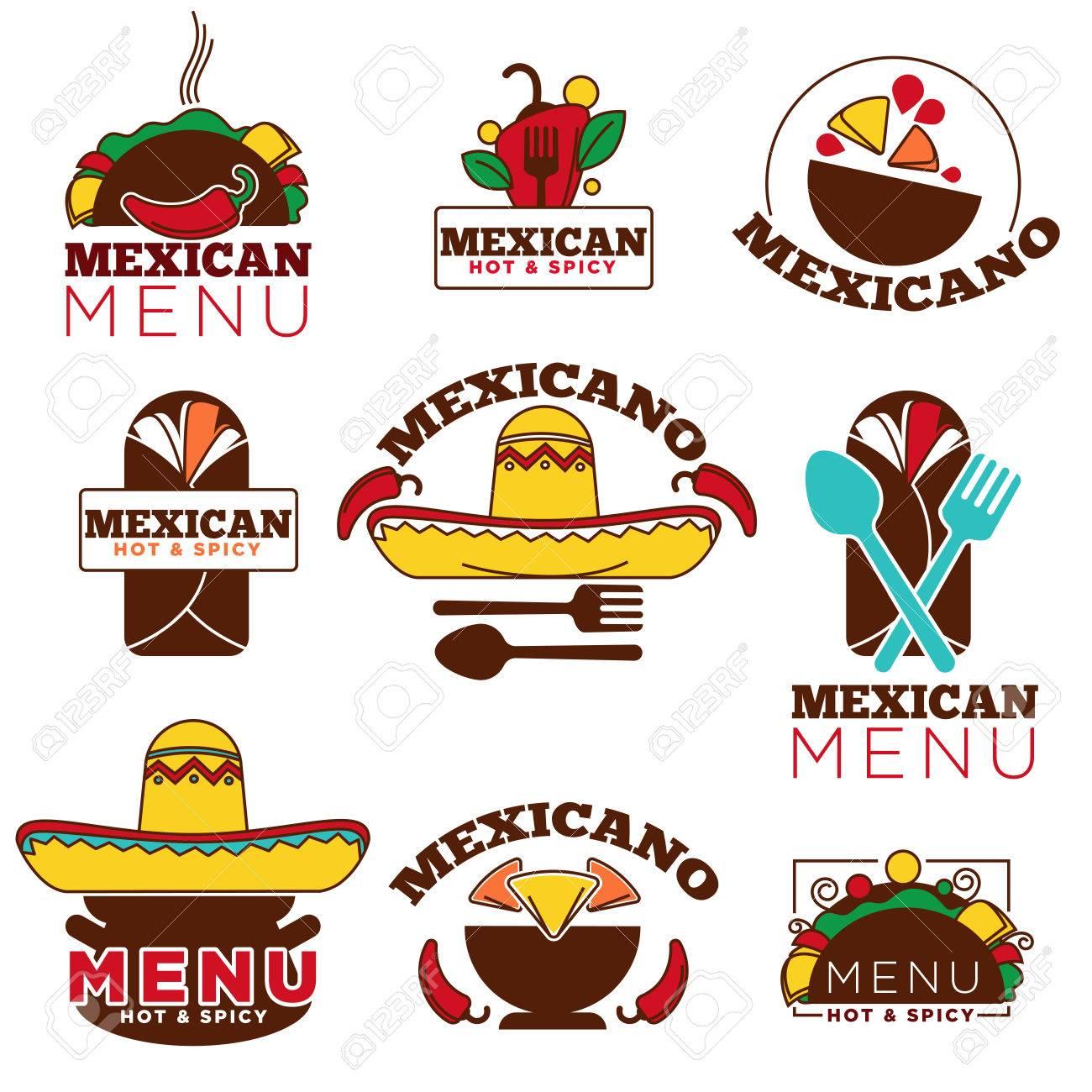 Mexikanische Speisen Küche Oder Restaurant Menü Vektor Icon Vorlagen ...