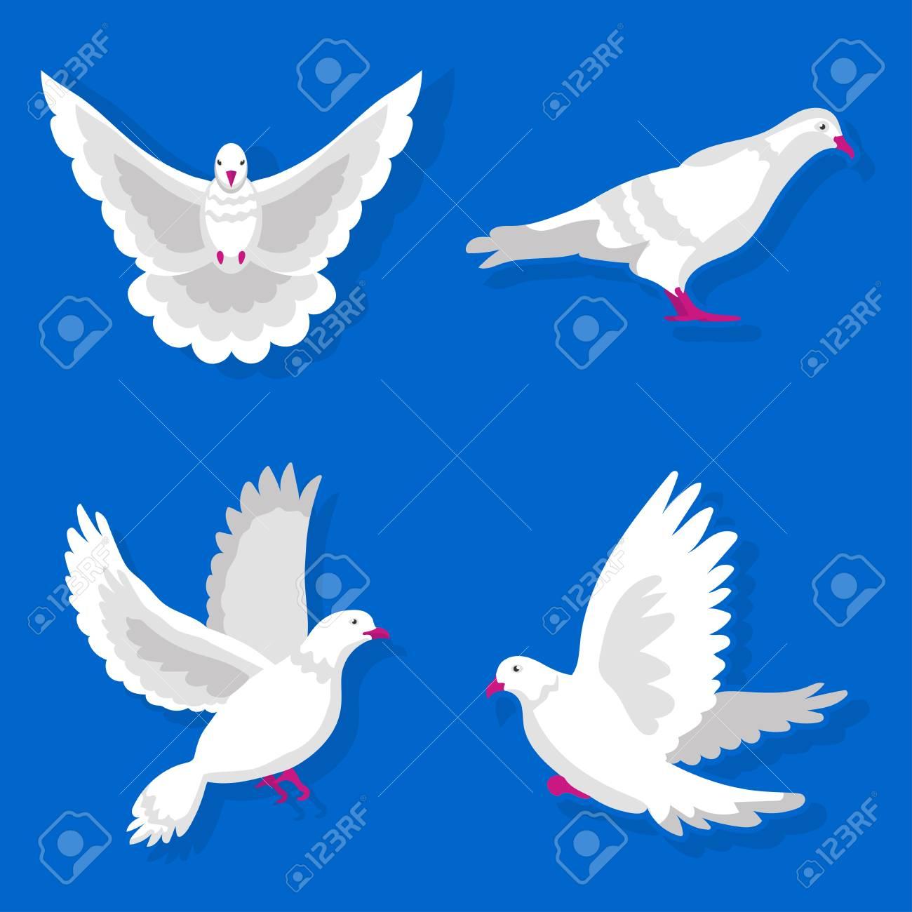 Conjunto De Palomas Blancas Sentado Y Volando Sobre El Fondo Azul