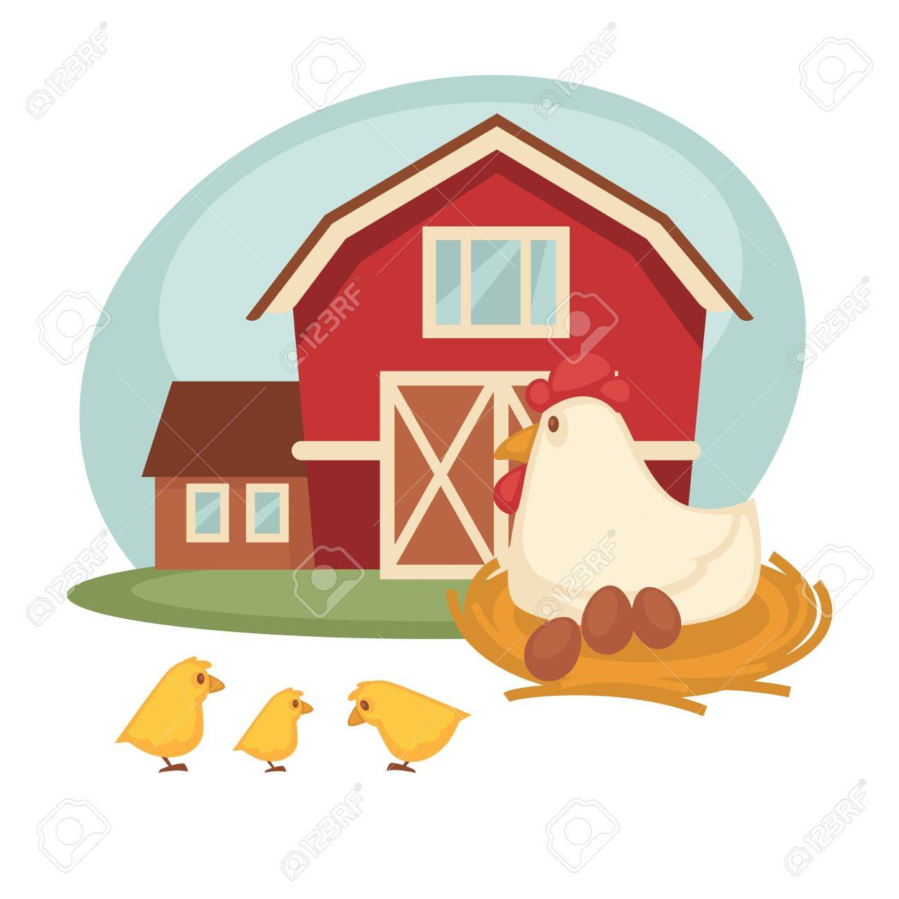 Farm Grain Barn Or House And Chicken Hen On Nest Hatching Eggs