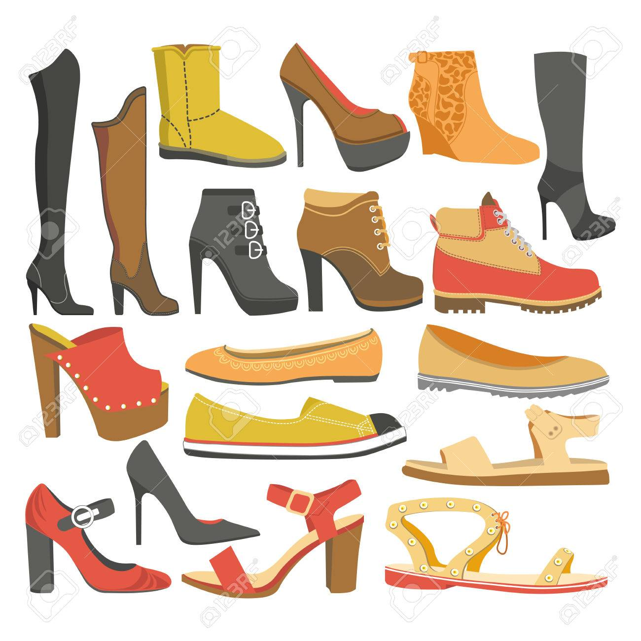 Women Shoes Types Of Female Footwear Icons Of Casual Business