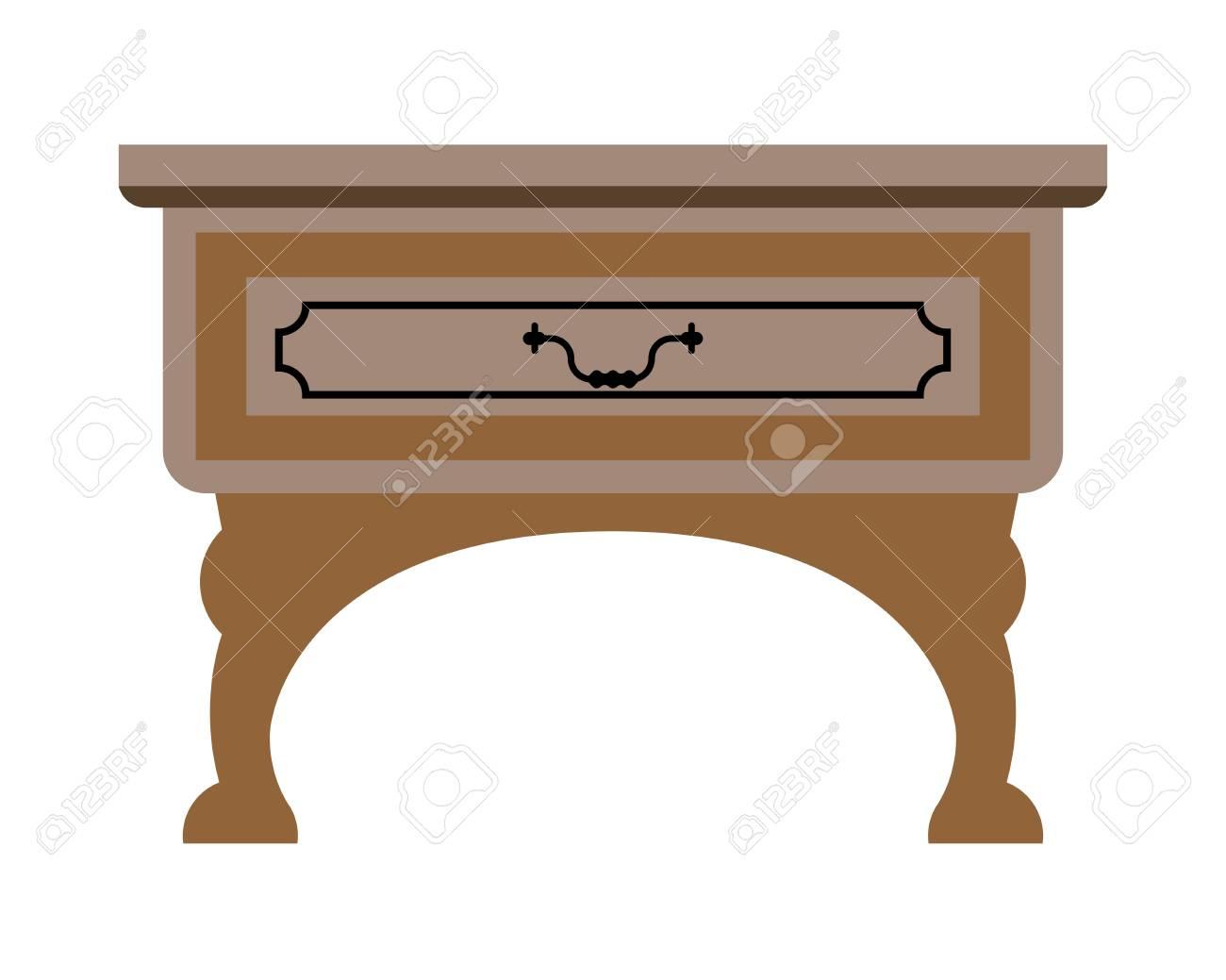 Wit Tafeltje Met Lade.Vector Illustratie Van Eenvoudige Houten Tafel Met Lade Geisoleerd Op Wit