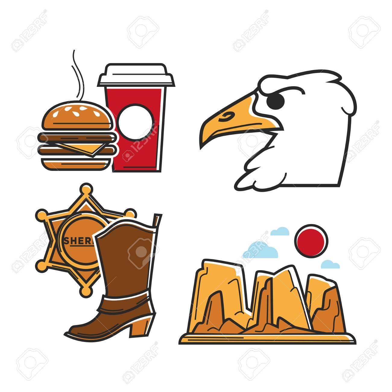 Usa Tourism Travel Or America Culture Symbols Of Famous Tourist