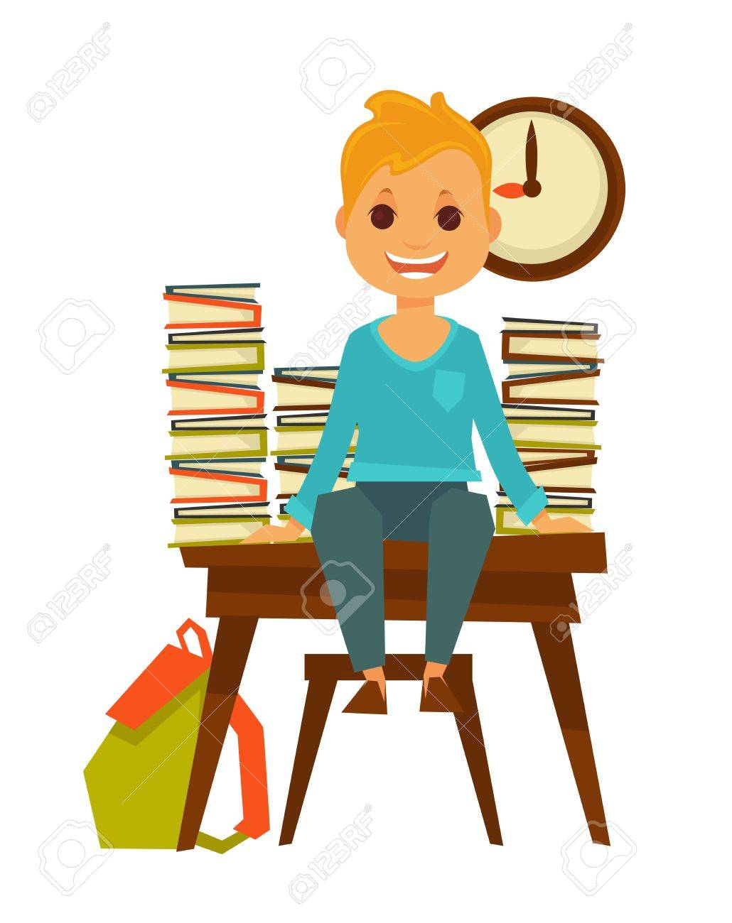 Child Sitting At Desk Clipart