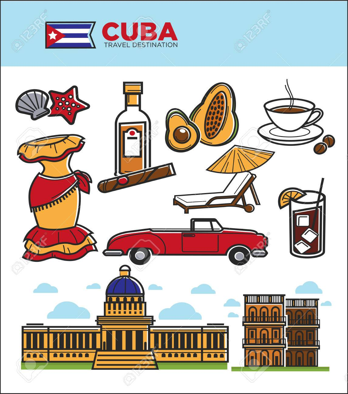 Cuba Tourism Travel Symbols And Culture Famous Sightseeing Icons