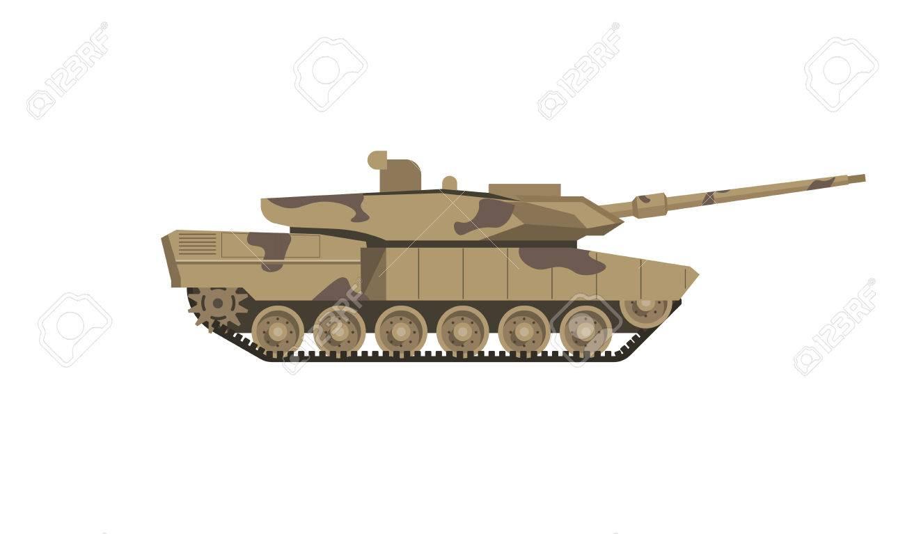 Réservoir militaire de couleur de camouflage isolé illustration de dessin animé